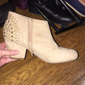 Tan ankle bootie with studs